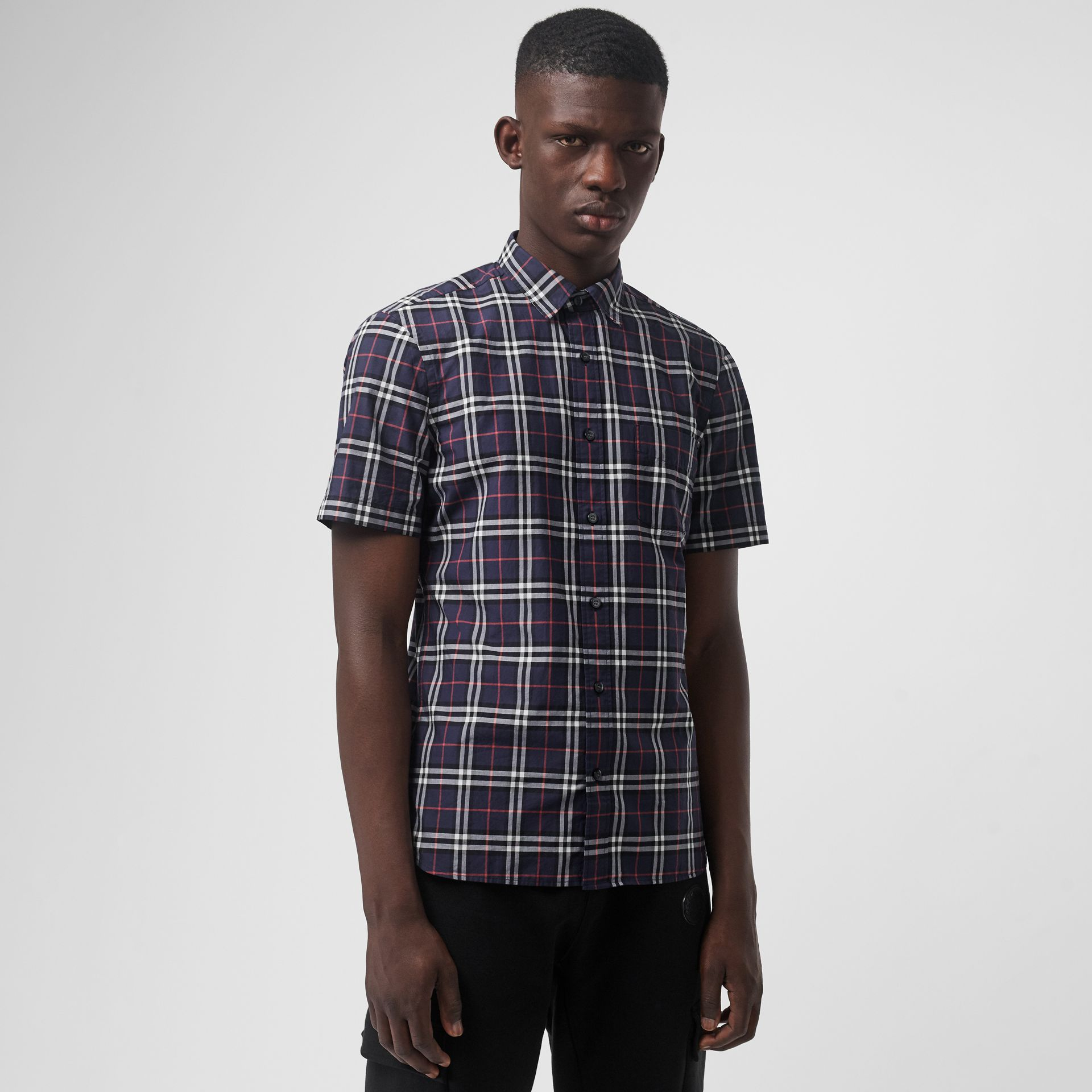 Short-sleeve Check Cotton Shirt in Navy - Men | Burberry United Kingdom - gallery image 0