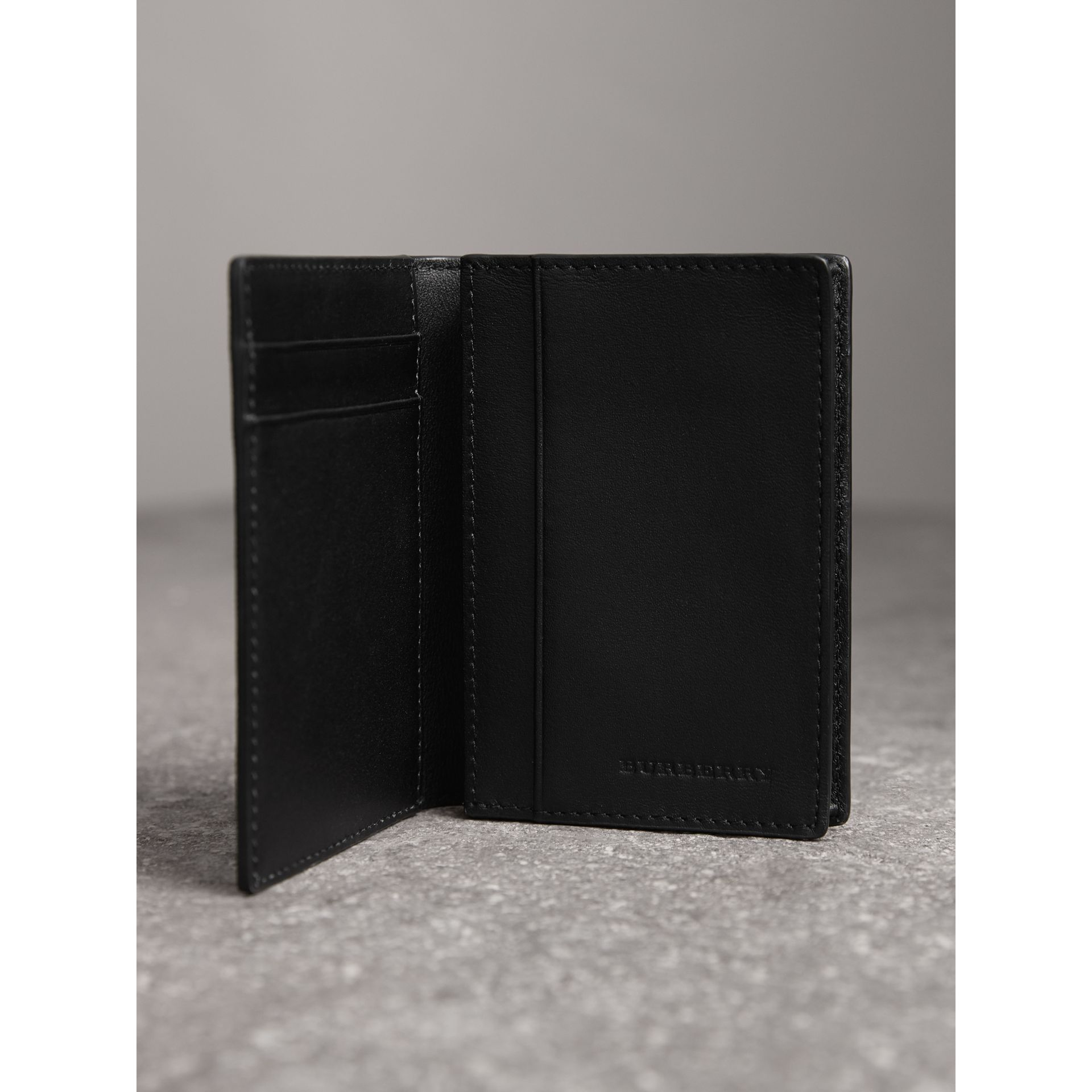 London Check and Leather Folding Card Case in Charcoal/black - Men | Burberry United Kingdom - gallery image 3