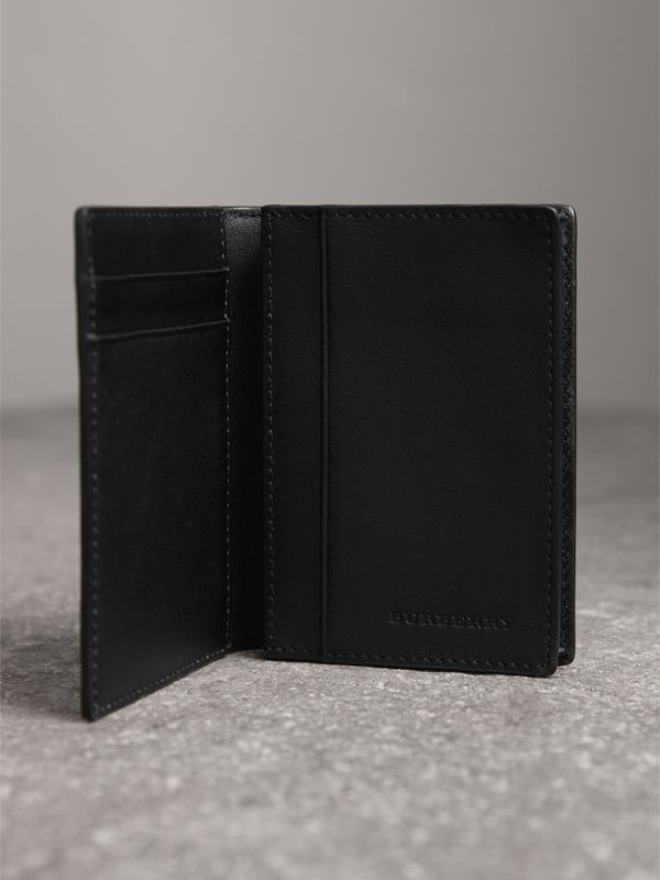 London Check and Leather Folding Card Case in Charcoal/black - Men | Burberry Canada - cell image 3