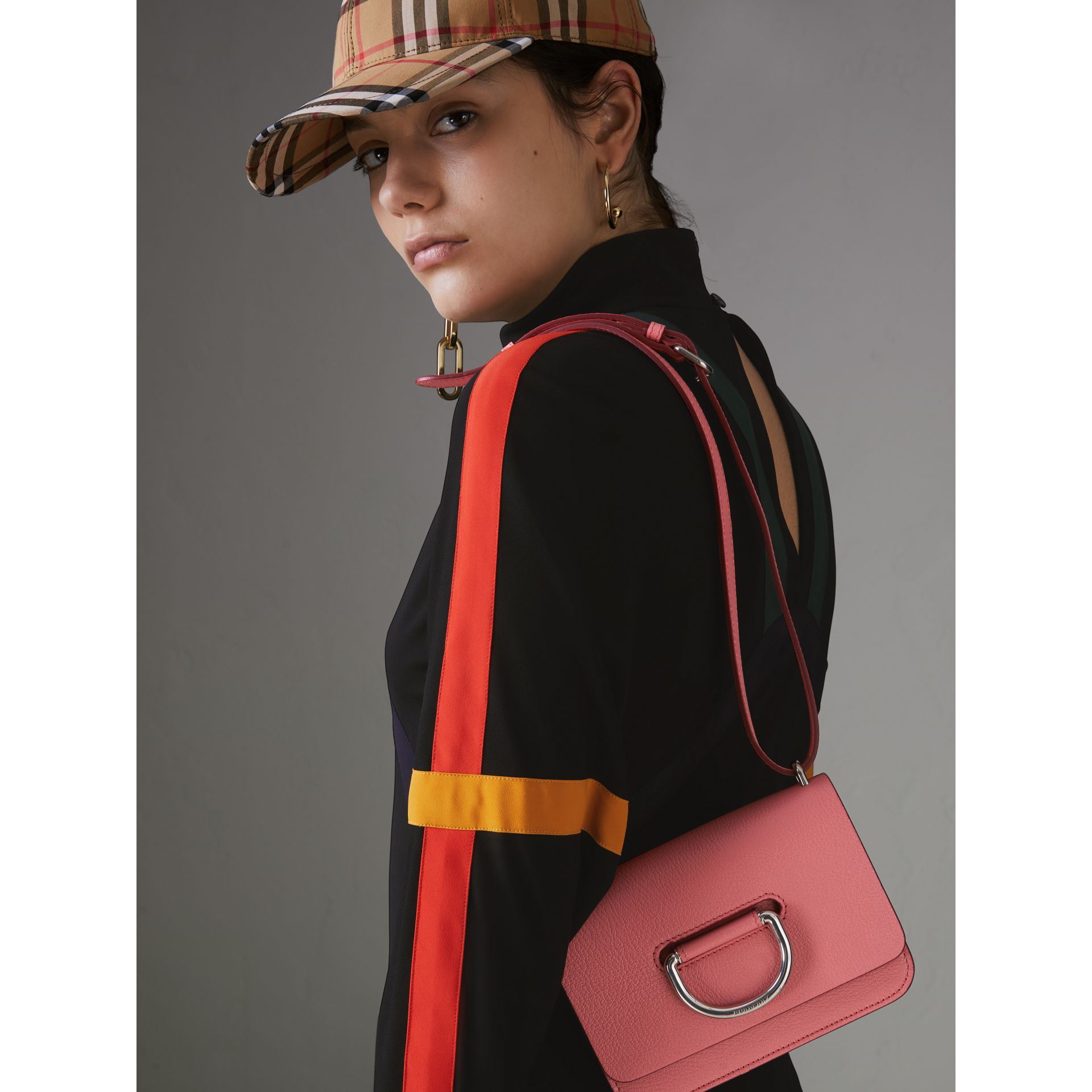 The Mini Leather D-ring Bag in Bright Coral Pink - Women | Burberry Australia - gallery image 3