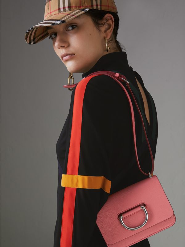 The Mini Leather D-ring Bag in Bright Coral Pink - Women | Burberry Australia - cell image 3