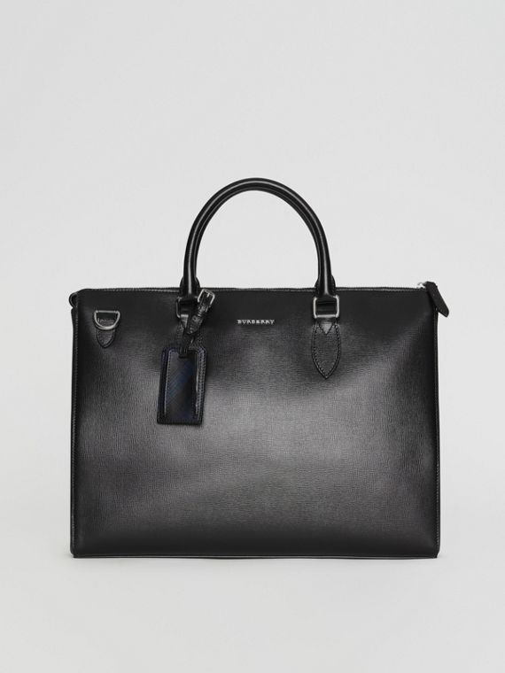 Large London Leather Briefcase in Black