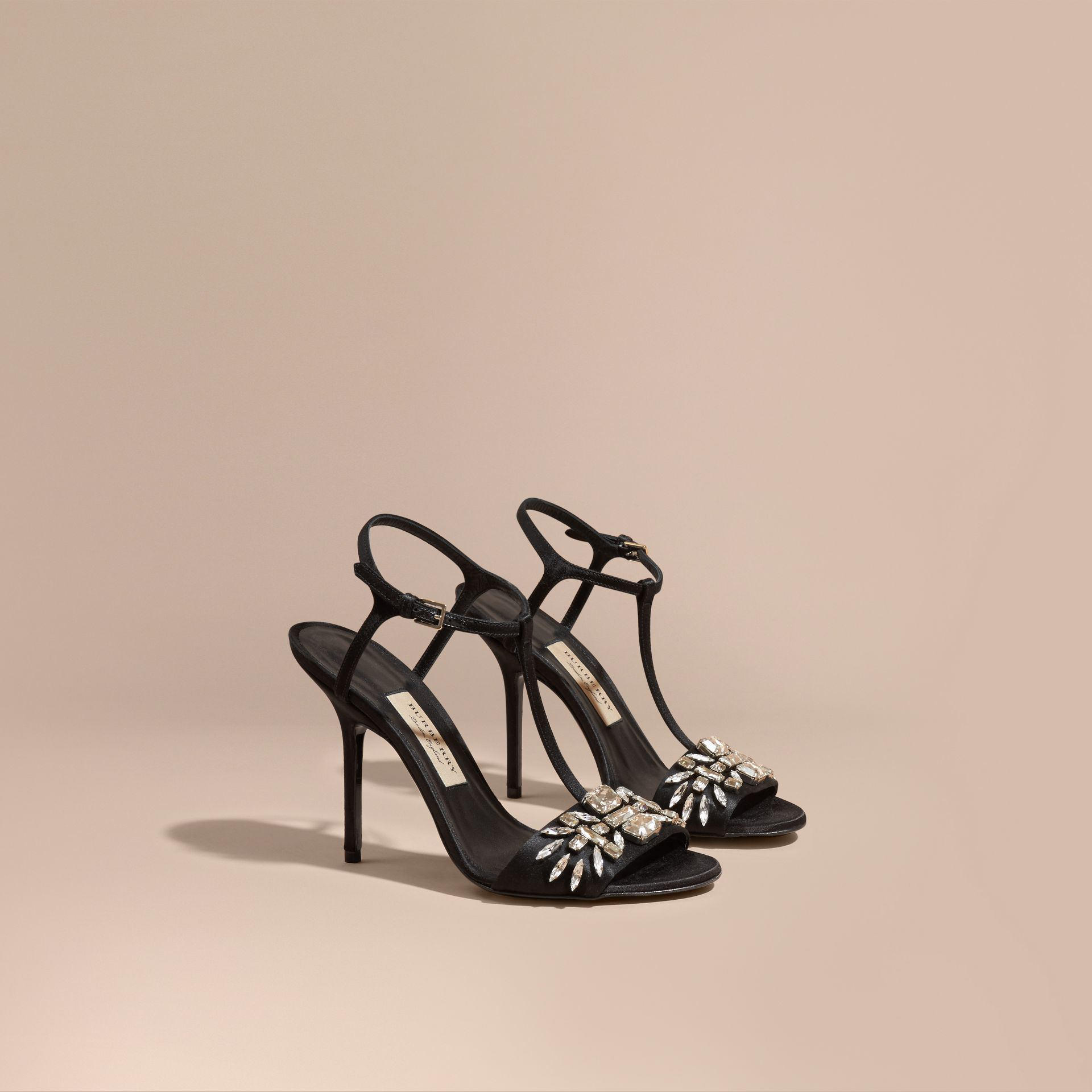 Black Gem Embellished Leather Sandals - gallery image 1