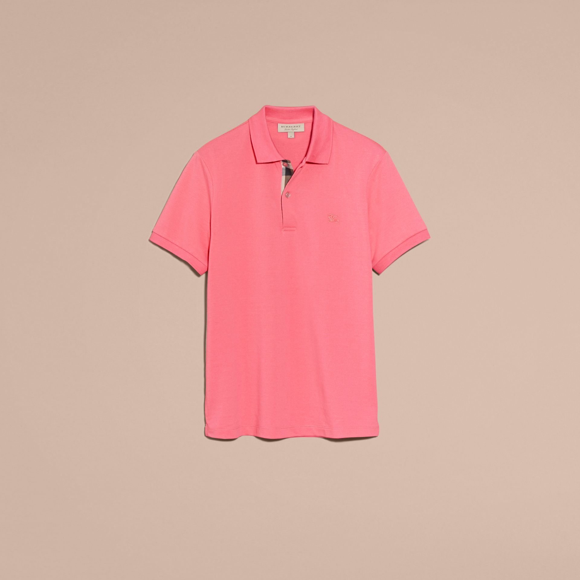 Check Placket Cotton Piqué Polo Shirt Rose Pink - gallery image 4