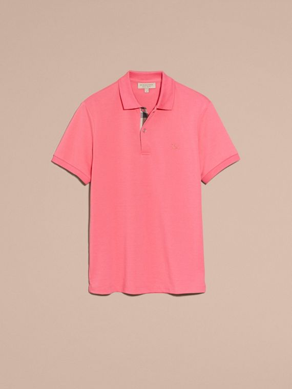 Check Placket Cotton Piqué Polo Shirt Rose Pink - cell image 3