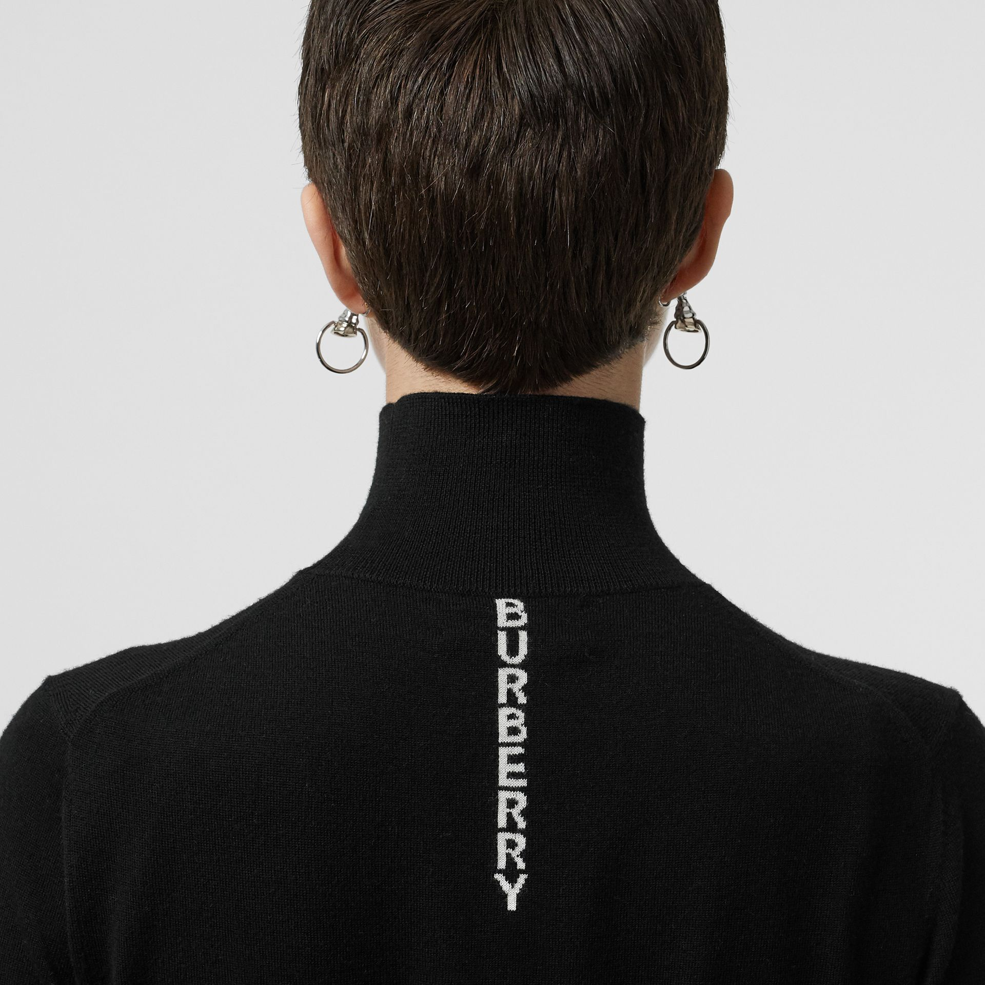 Logo Intarsia Merino Wool Sweater in Black - Women | Burberry Singapore - gallery image 1