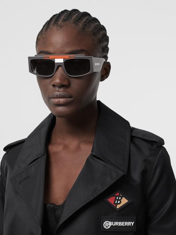 Rectangular Frame Sunglasses in Black - Women | Burberry - cell image 2