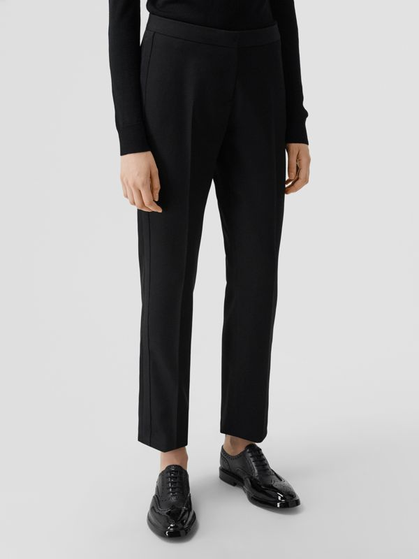 Silk Blend Side Stripe Wool Tailored Trousers in Black - Women | Burberry United Kingdom - cell image 3