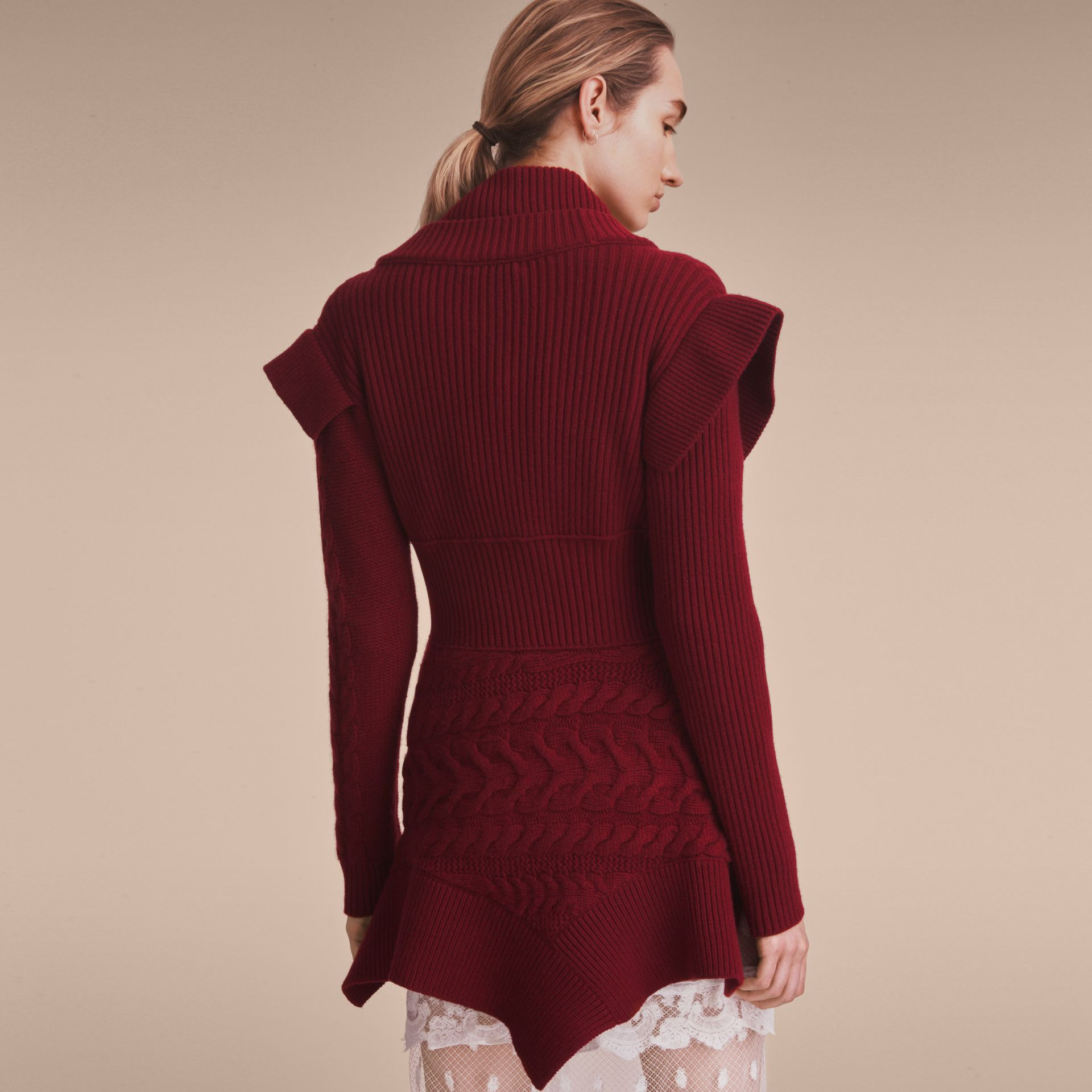 Knitted Wool Cashmere Military-inspired Jacket in Bordeaux - Women | Burberry - gallery image 3
