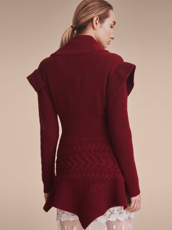 Knitted Wool Cashmere Military-inspired Jacket in Bordeaux - Women | Burberry Australia - cell image 2