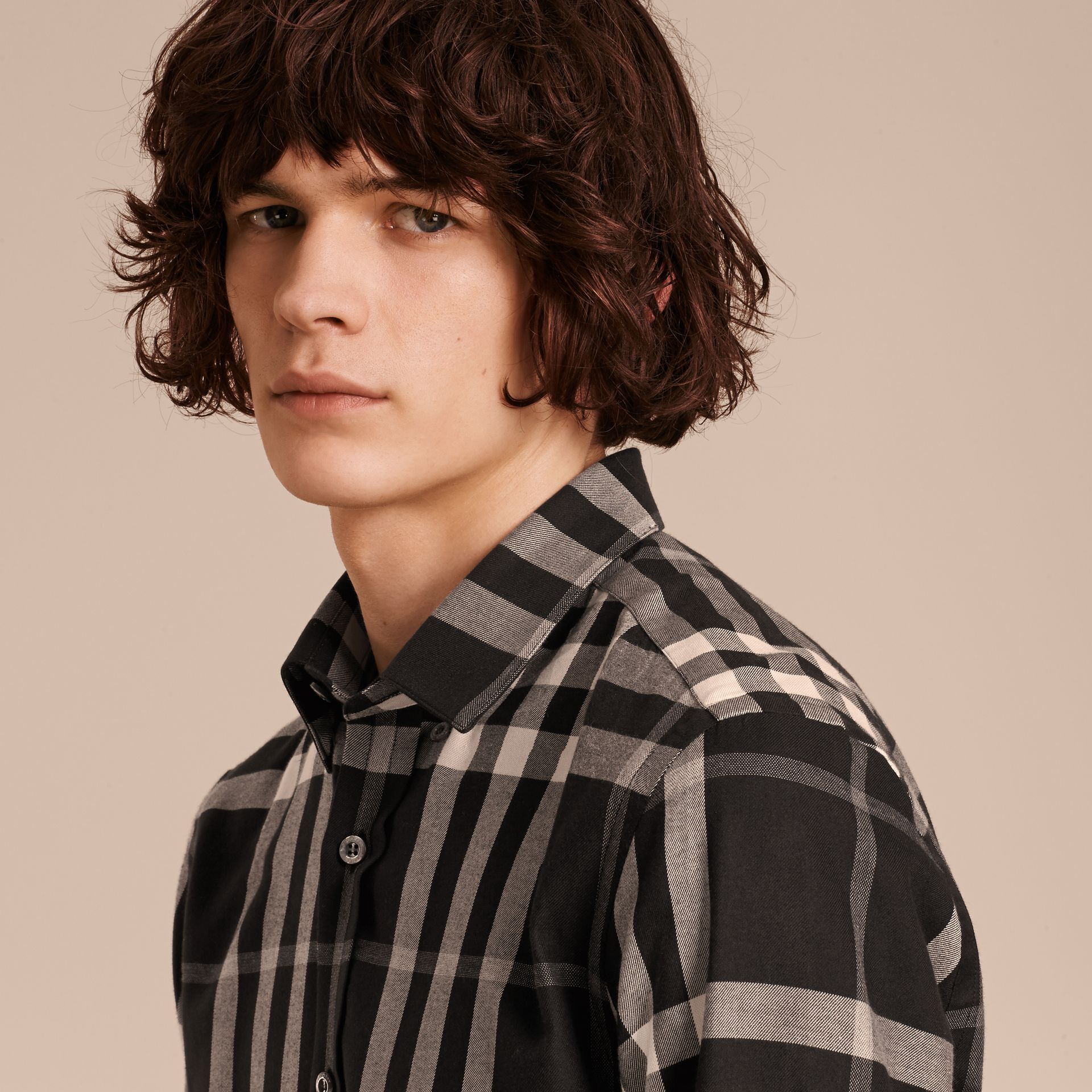Black Check Cotton Cashmere Flannel Shirt Black - gallery image 5