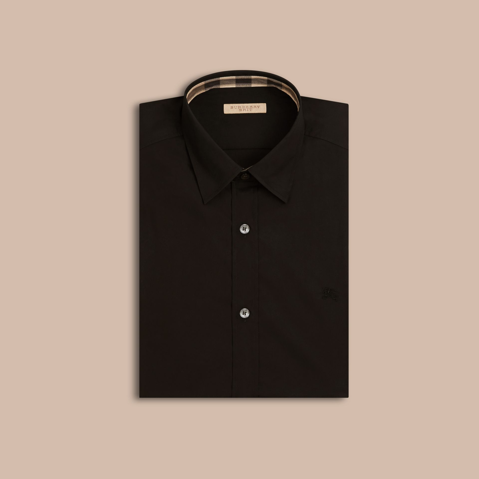 Check Detail Stretch Cotton Poplin Shirt in Black - gallery image 4