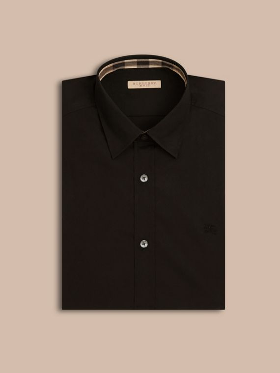 Check Detail Stretch Cotton Poplin Shirt in Black - Men | Burberry - cell image 3