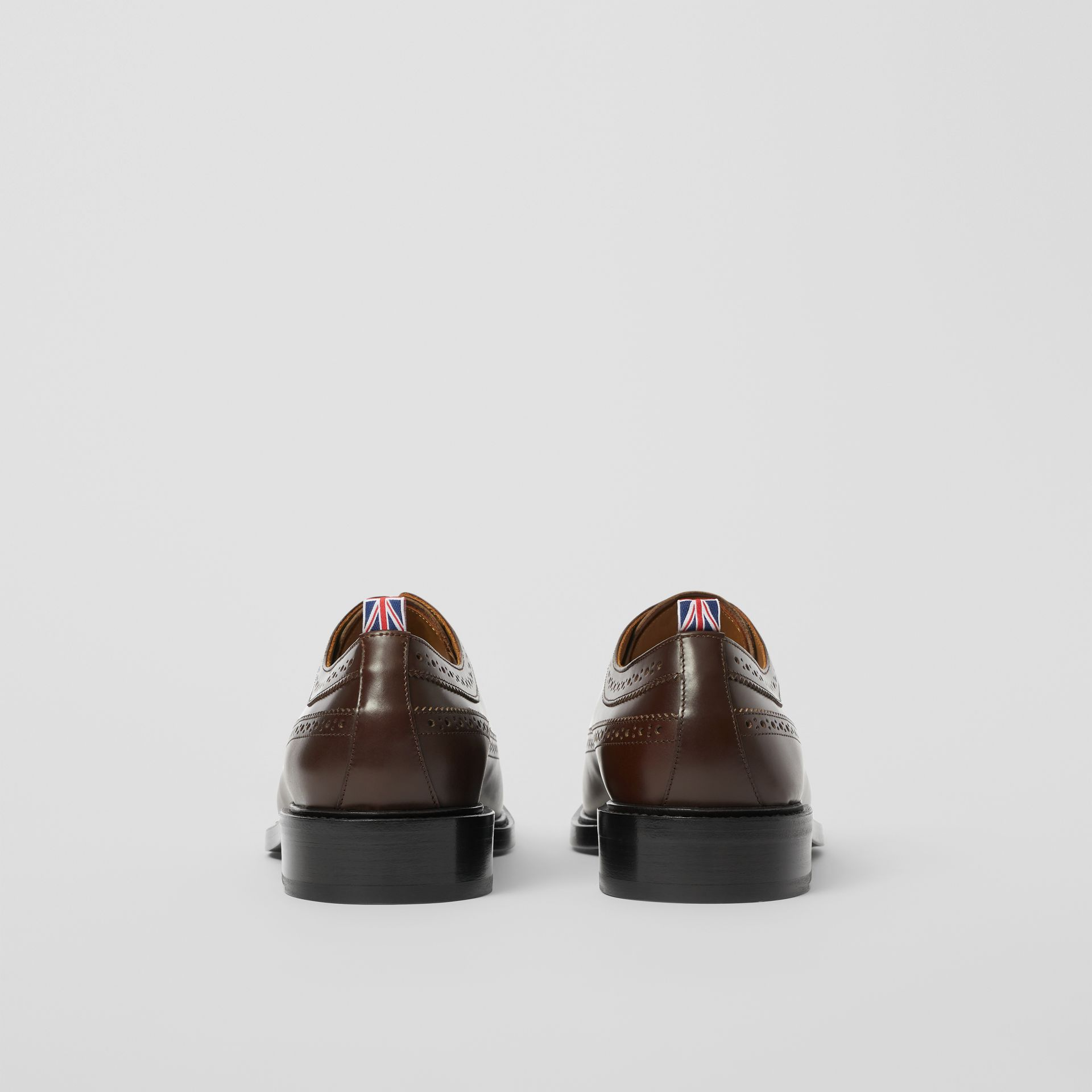 Brogue Detail Leather Derby Shoes in Tan - Men | Burberry - gallery image 3