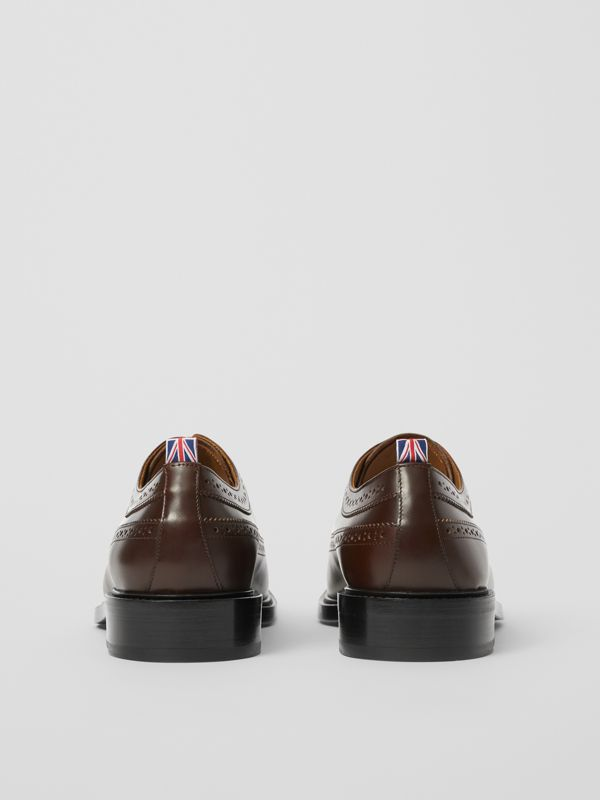 Brogue Detail Leather Derby Shoes in Tan - Men | Burberry - cell image 3