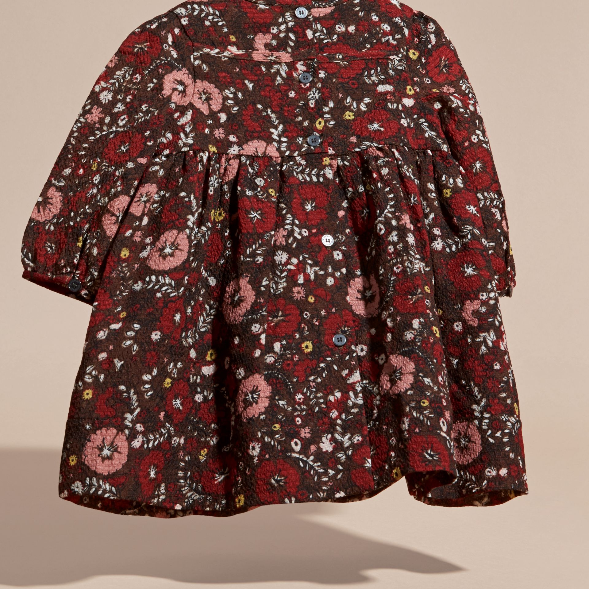 Carmine red Floral Print Silk Dress - gallery image 4