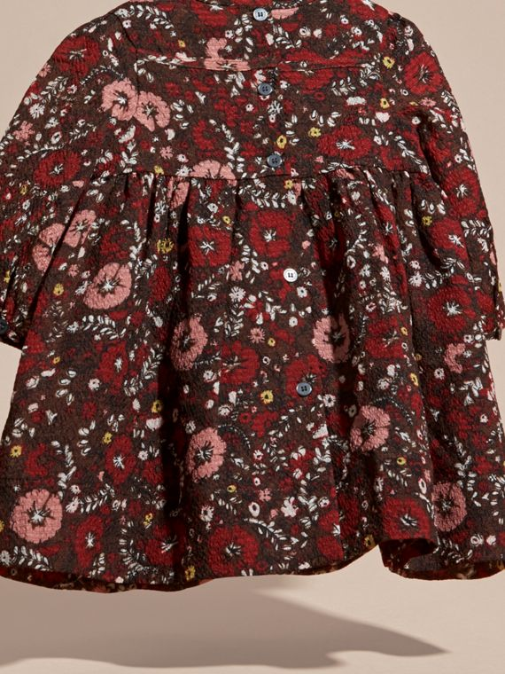 Carmine red Floral Print Silk Dress - cell image 3