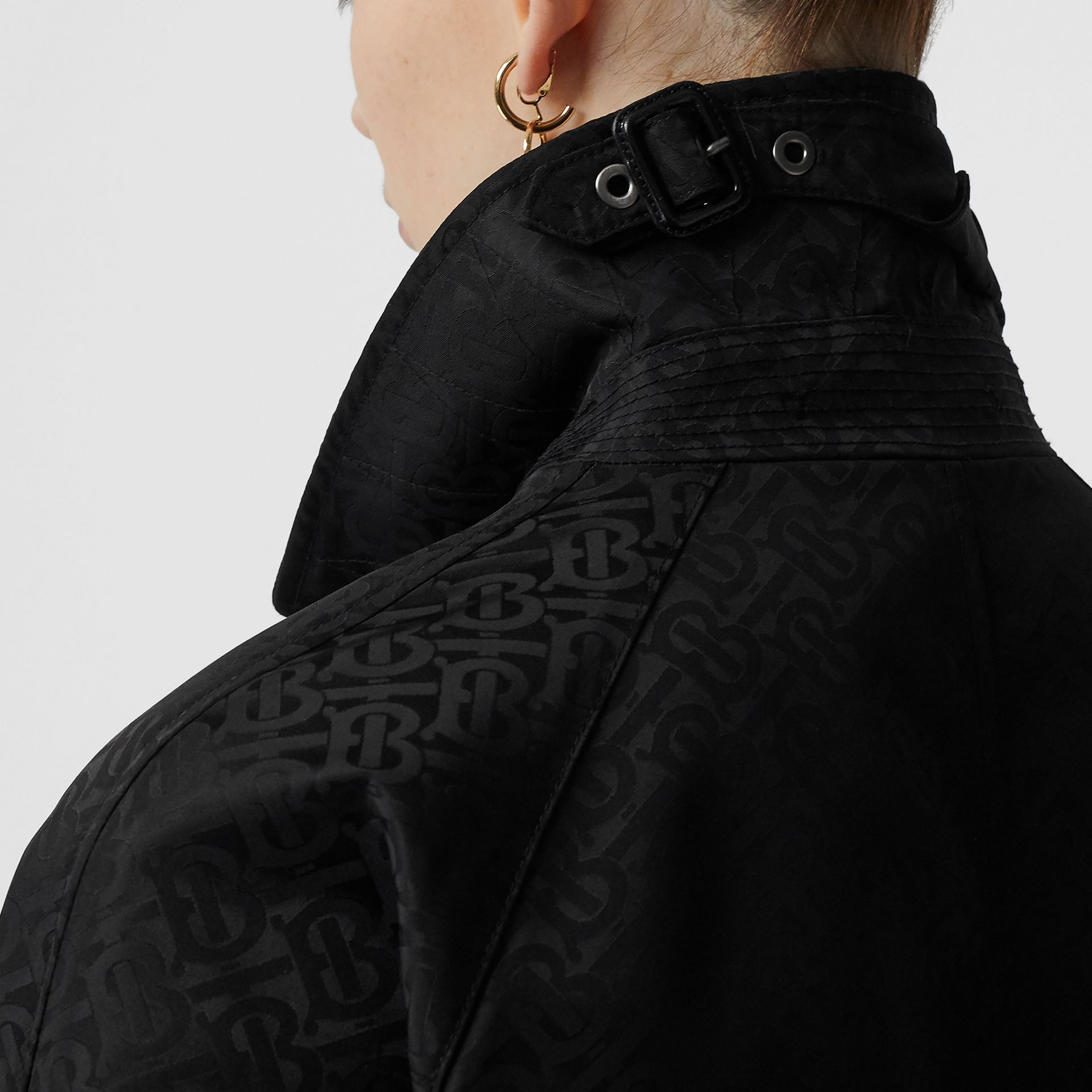 Monogram ECONYL® Jacquard Car Coat in Black - Women | Burberry - gallery image 5