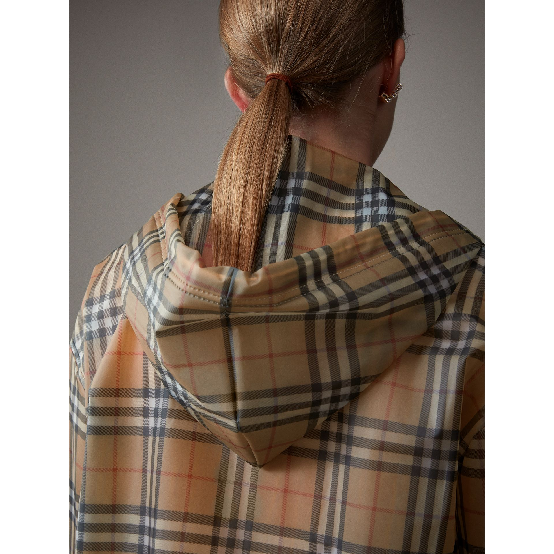 Vintage Check Soft-touch Plastic Cagoule in Antique Yellow - Women | Burberry Canada - gallery image 1