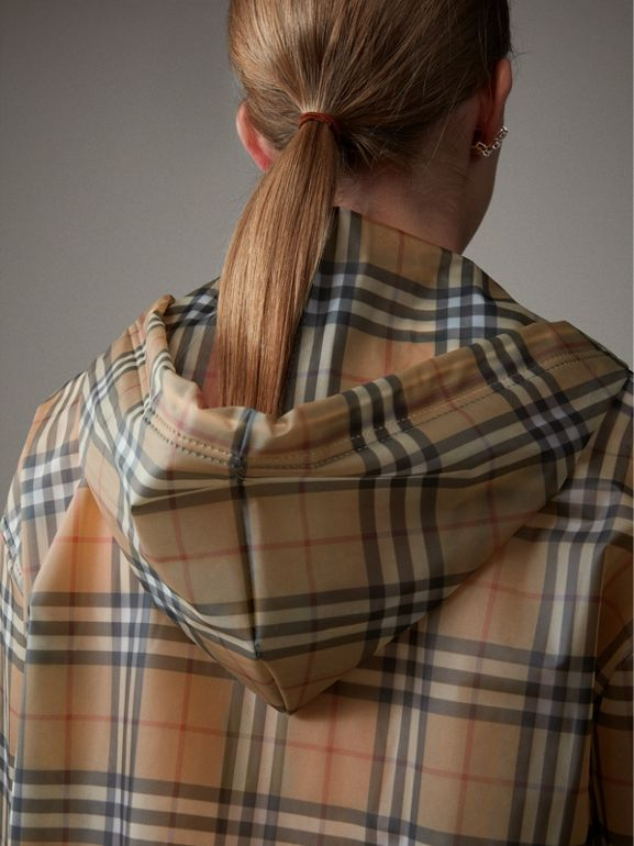 Vintage Check Soft-touch Plastic Cagoule in Antique Yellow - Women | Burberry Canada - cell image 1