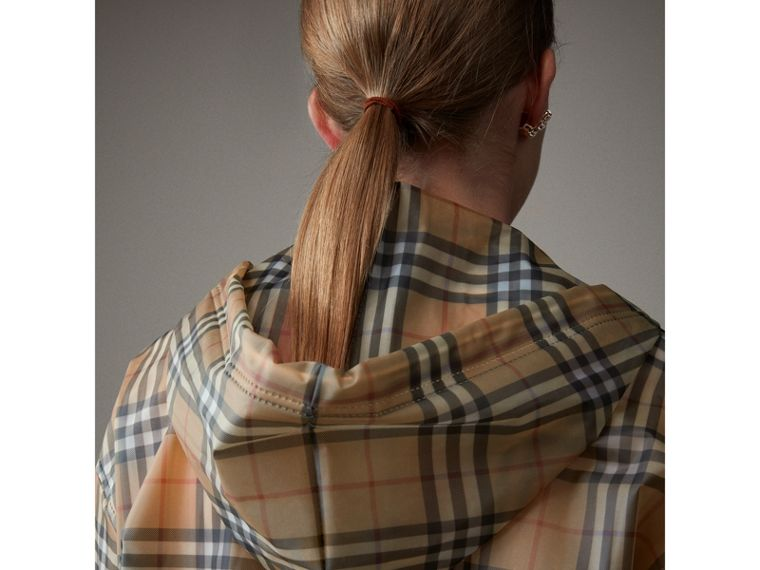 Vintage Check Soft-touch Plastic Cagoule in Antique Yellow - Women | Burberry Hong Kong - cell image 1