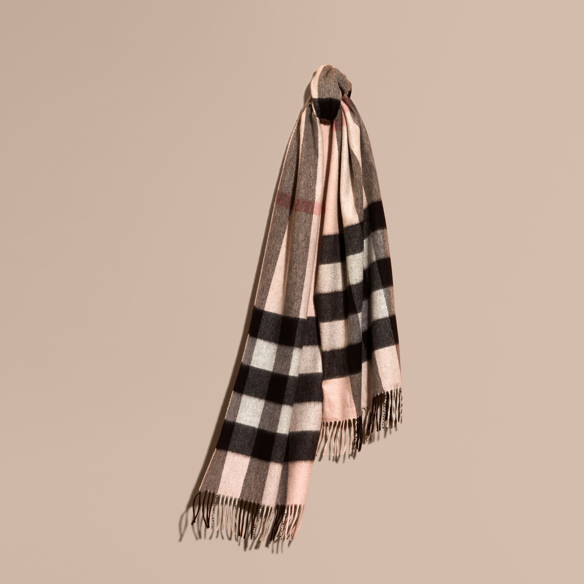 The Large Classic Cashmere Scarf in Check Rose - gallery image 6