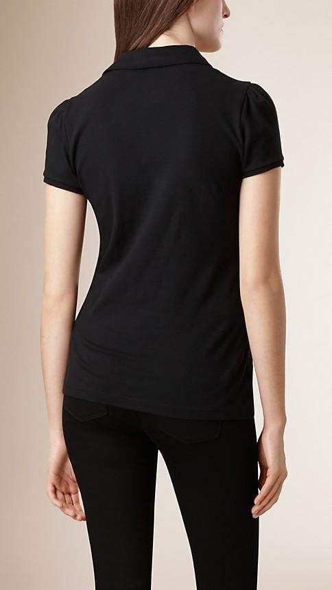 Black Check Placket Polo Shirt - Image 2