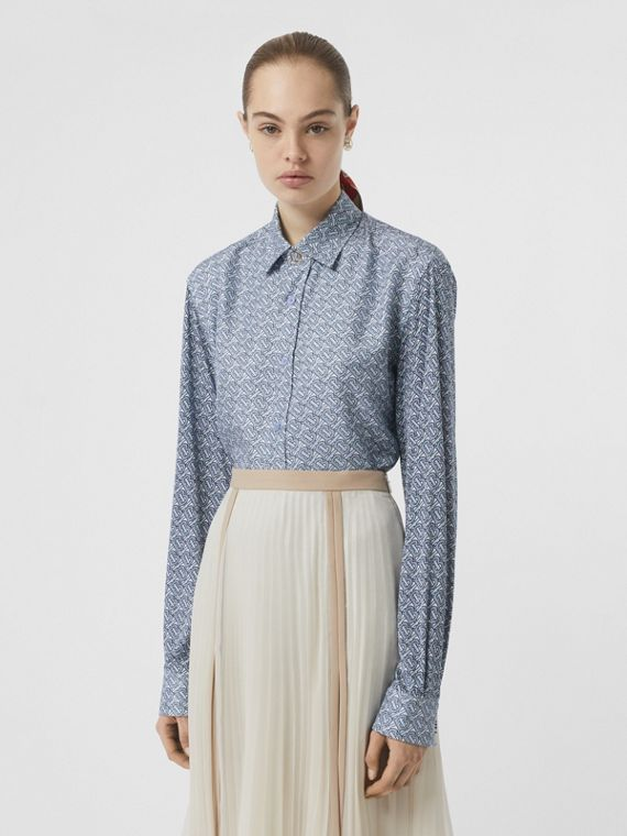 Oversize-Bluse aus Seide mit Monogrammmuster (Hellblau)