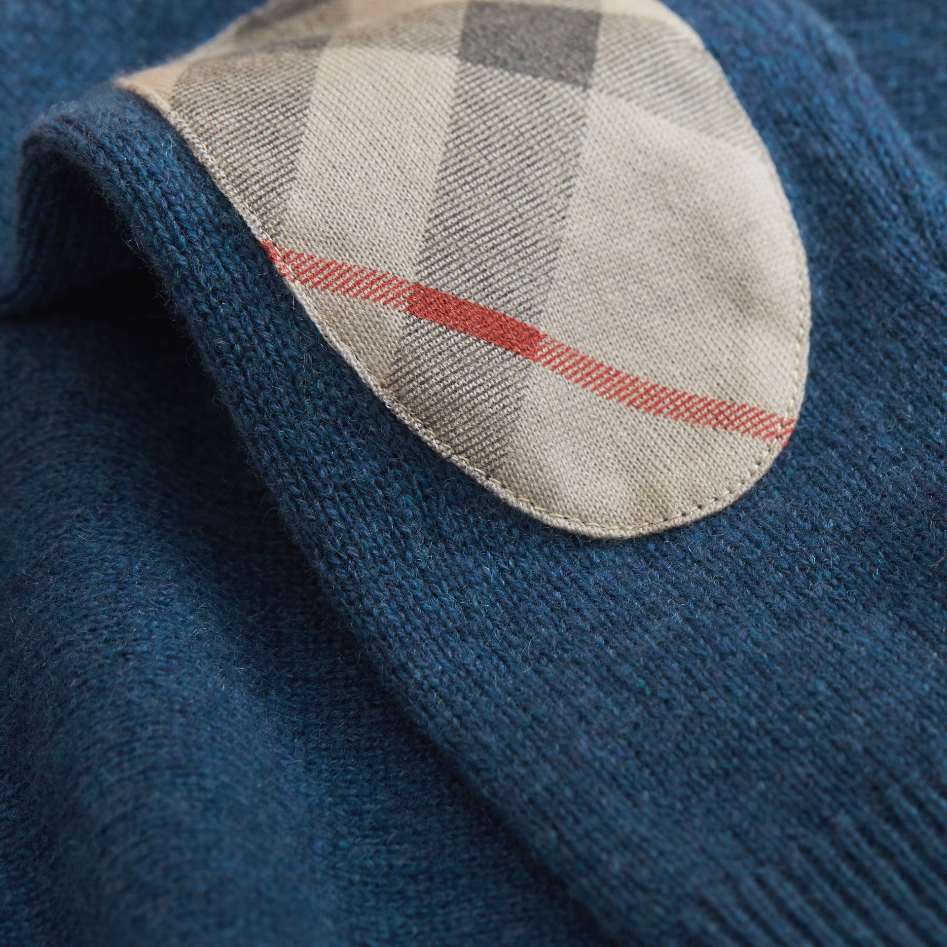 Check Elbow Patch Cashmere Sweater in Mineral Blue Melange - Boy | Burberry United Kingdom - gallery image 2