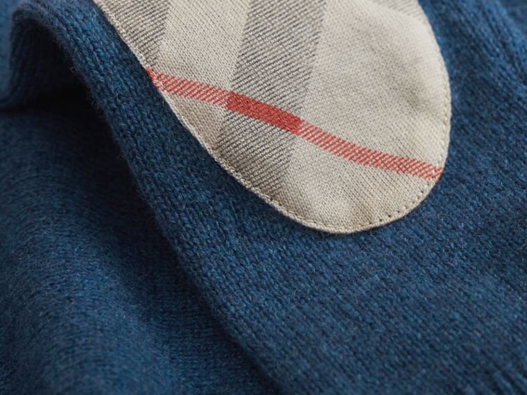Check Elbow Patch Cashmere Sweater in Mineral Blue Melange - Boy | Burberry United Kingdom - cell image 1