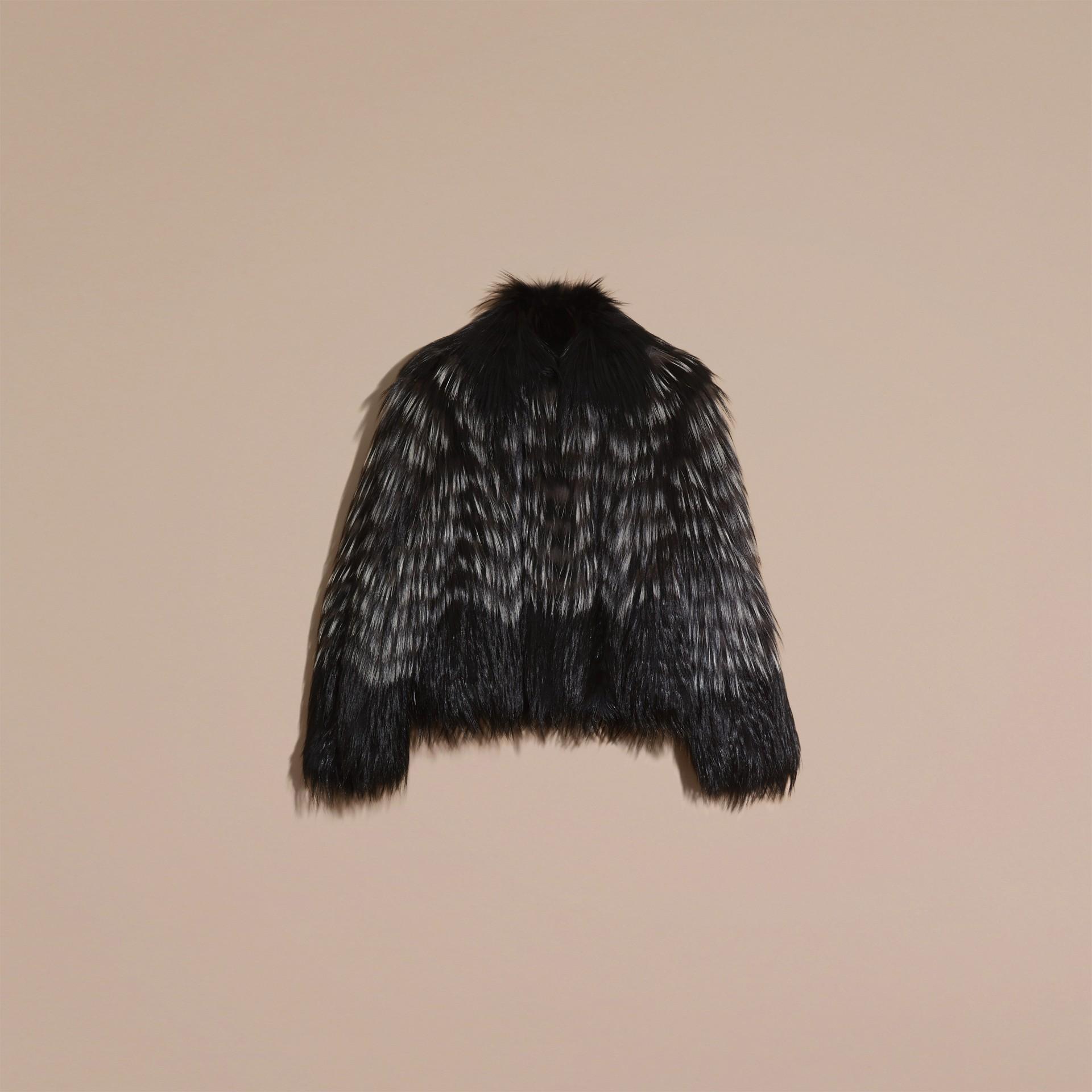 Black/white Chevron Stripe Fox Fur Jacket - gallery image 4