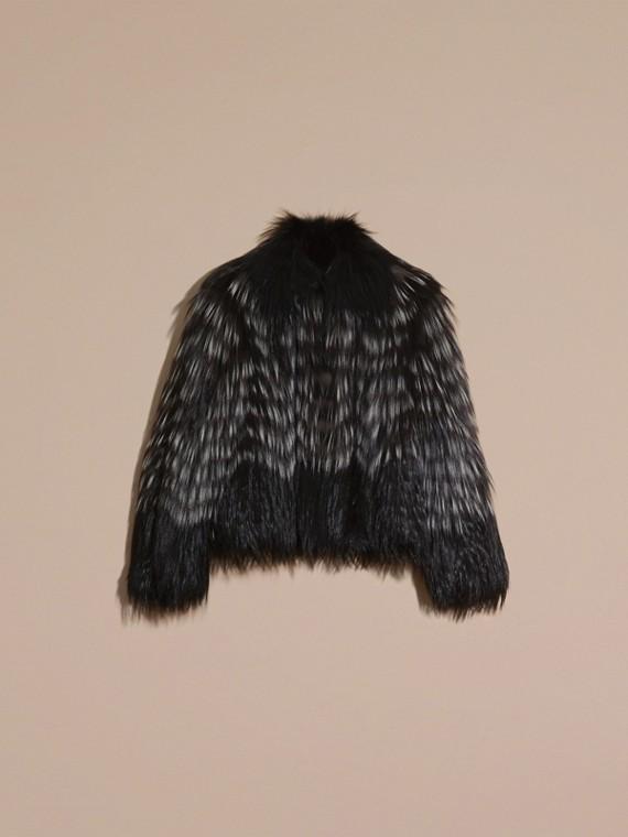 Black/white Chevron Stripe Fox Fur Jacket - cell image 3
