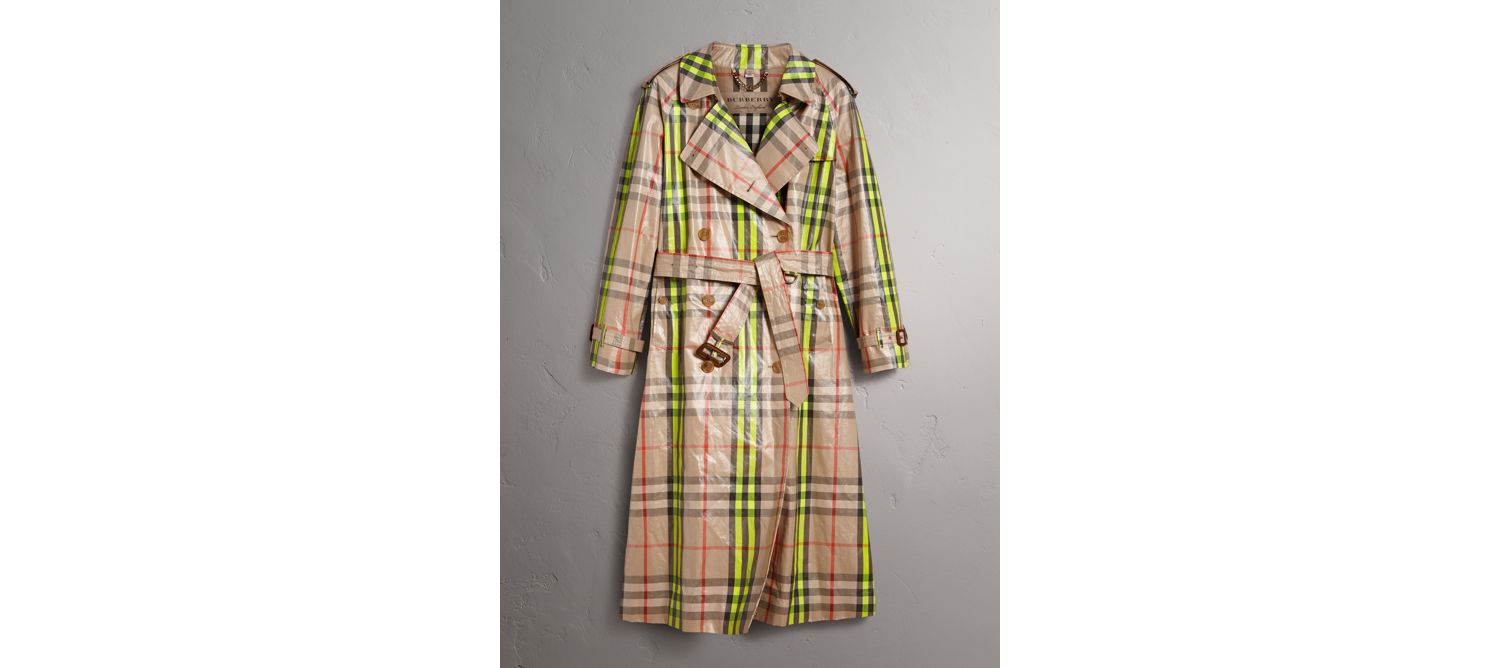 Laminated Check Trench Coat – Online Exclusive in Fluorescent Yellow