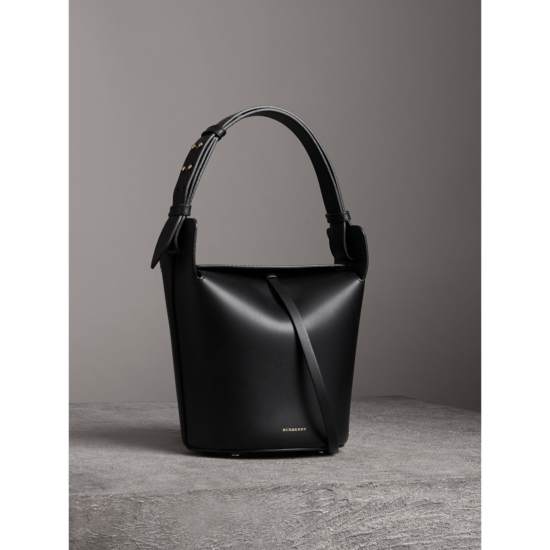 The Small Leather Bucket Bag in Black - Women | Burberry - gallery image 5