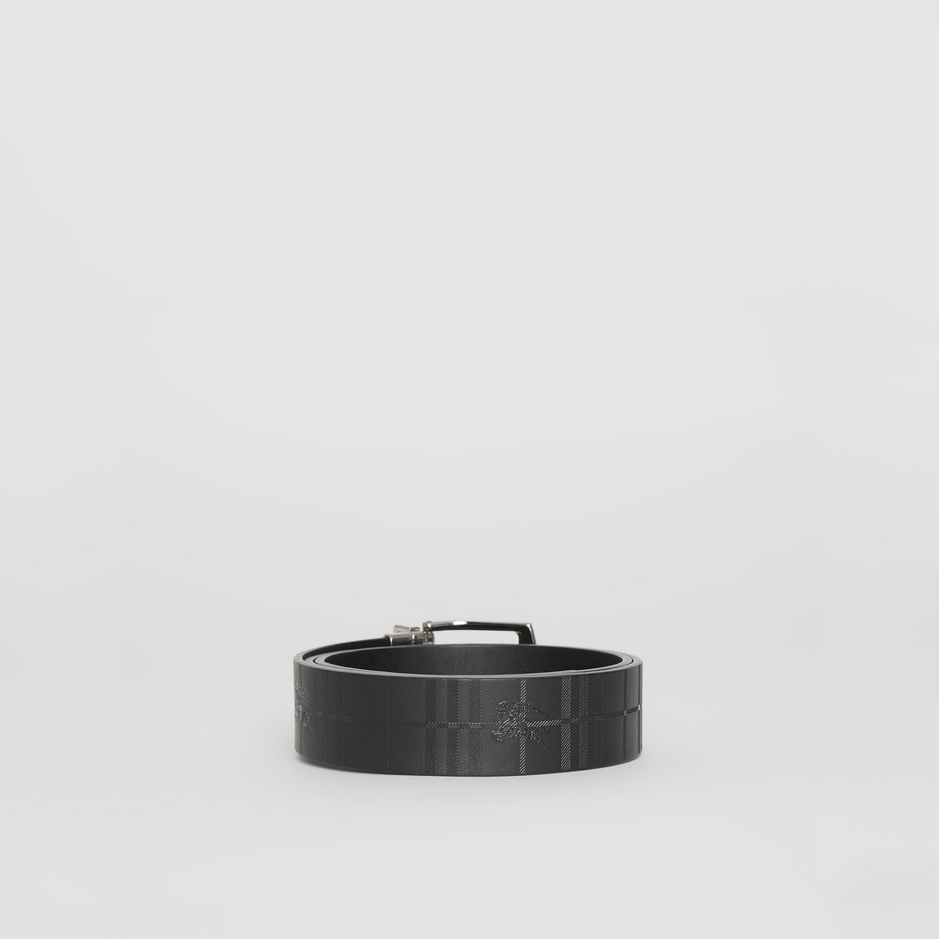 Reversible EKD Check Leather Belt in Black - Men | Burberry - gallery image 4