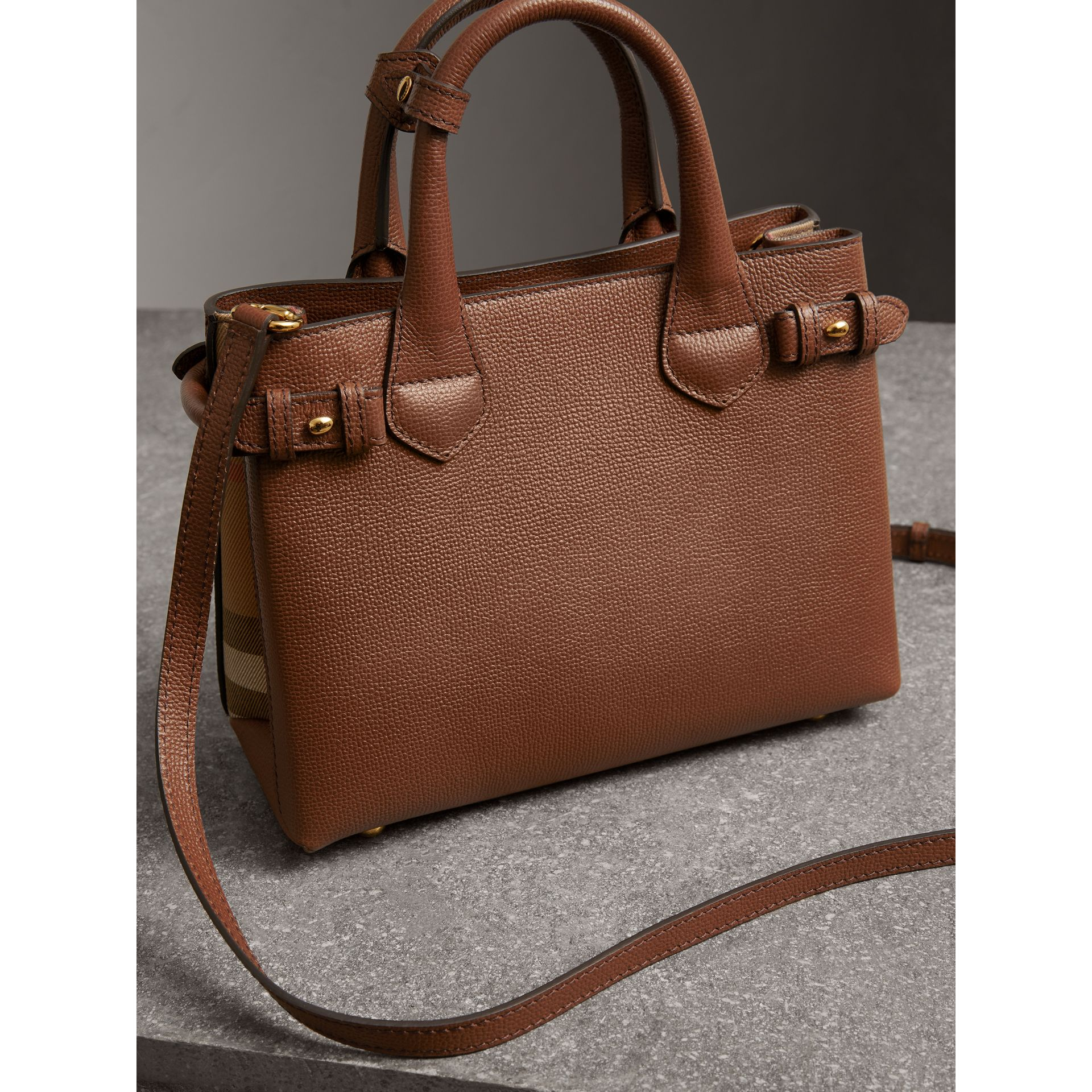 The Small Banner in Leather and House Check in Tan - Women | Burberry United States - gallery image 4
