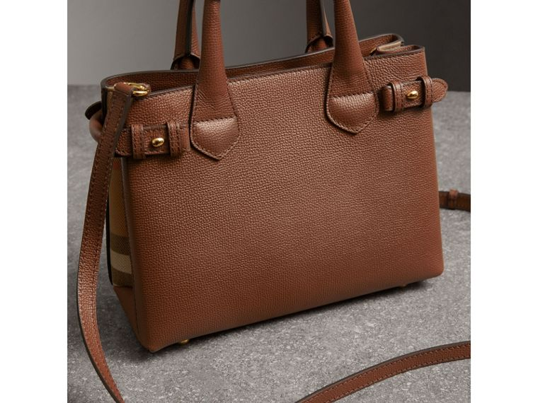 The Small Banner in Leather and House Check in Tan - Women | Burberry Hong Kong - cell image 4