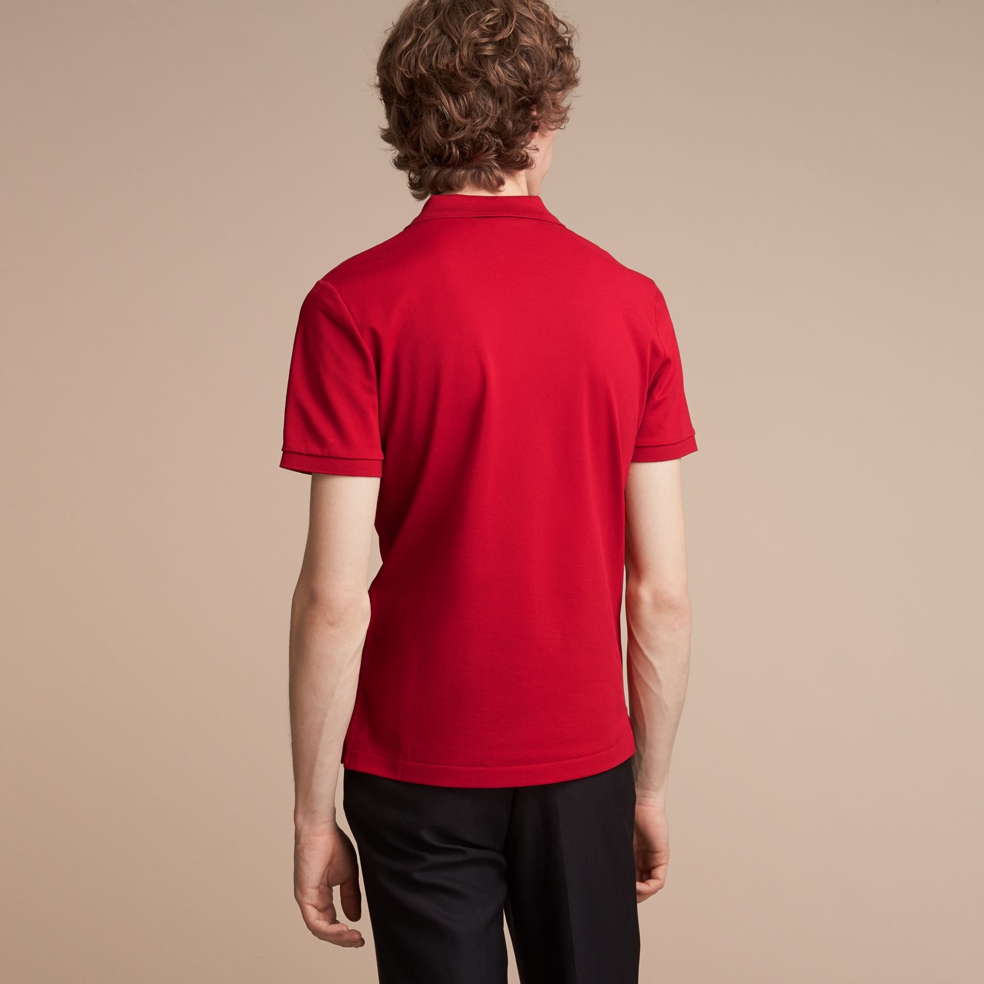 Cotton Piqué Polo Shirt Military Red - gallery image 3