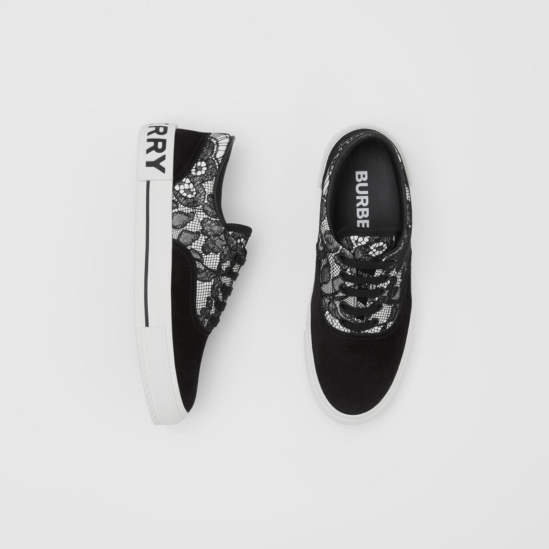 Lace and Leather Sneakers in Black/white - Women | Burberry - gallery image 0