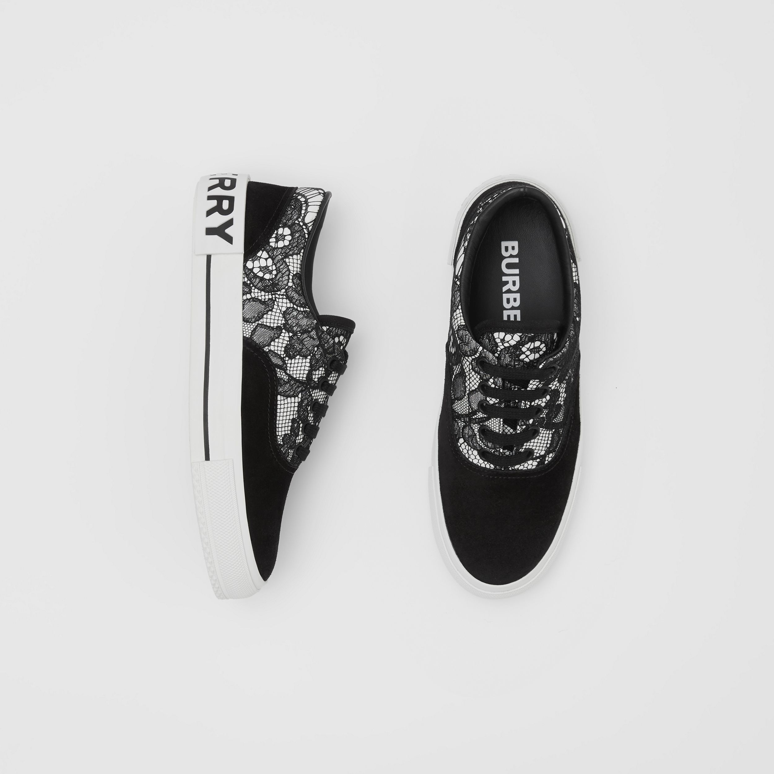 Lace and Leather Sneakers in Black/white - Women | Burberry Hong Kong S.A.R. - 1