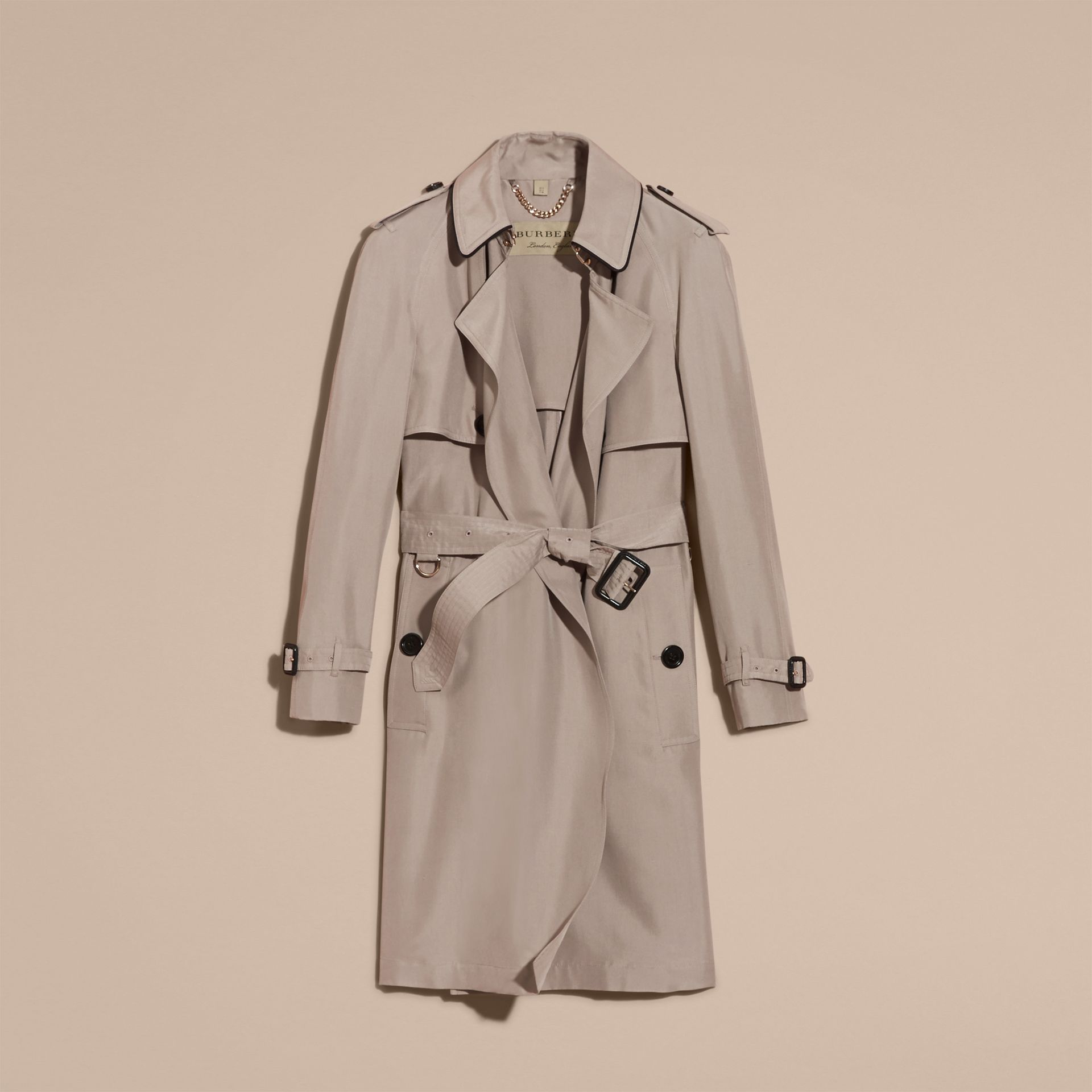 Pale taupe Oversize Detail Silk Trench Coat Pale Taupe - gallery image 4