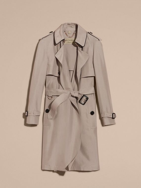 Pale taupe Oversize Detail Silk Trench Coat Pale Taupe - cell image 3