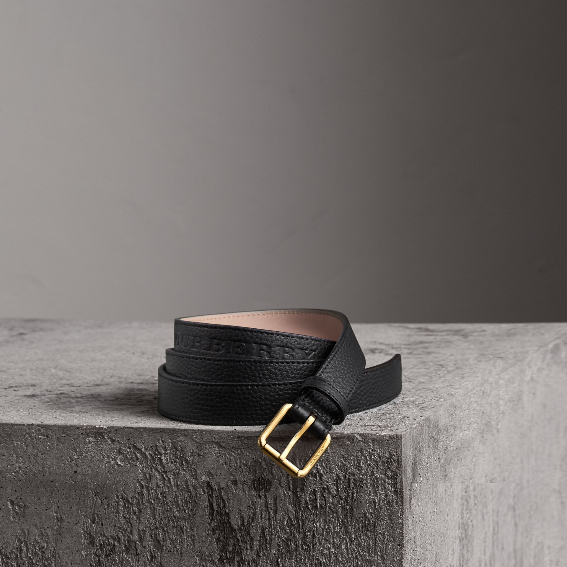 Embossed Leather Belt in Black - Women | Burberry - gallery image 0
