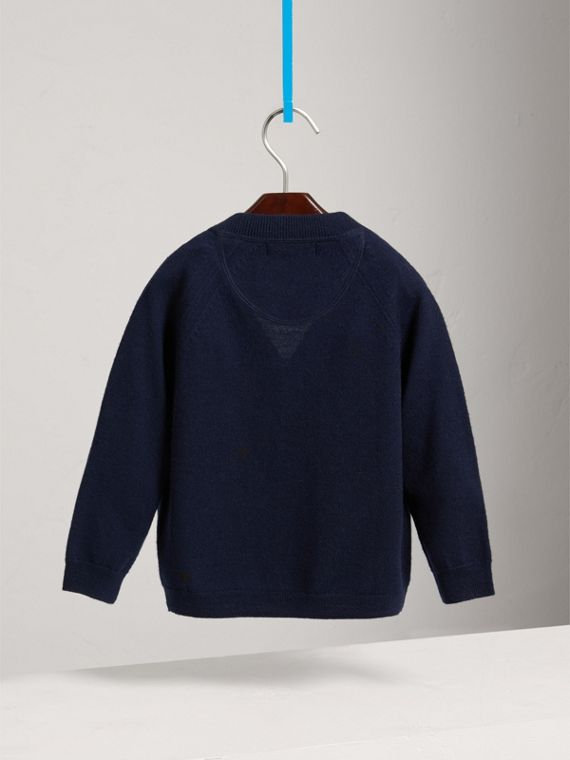 Check Detail Merino Wool Cardigan in Navy - Boy | Burberry - cell image 3