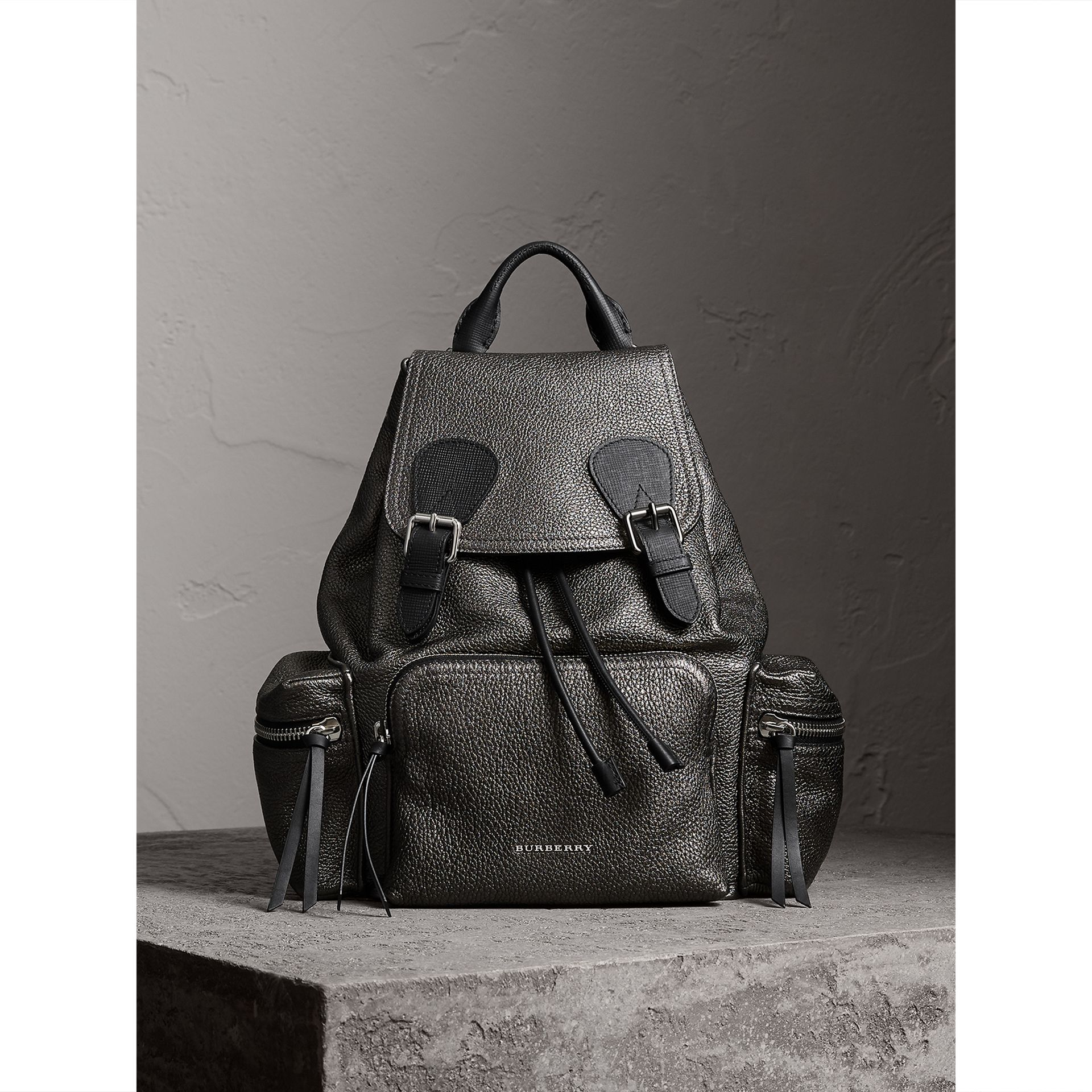 The Medium Rucksack in Metallic Deerskin in Dark Grey - Women | Burberry - gallery image 5