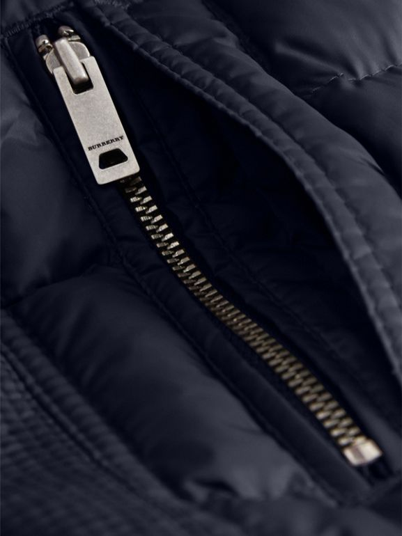 Detachable Hood Down-filled Coat in Navy | Burberry - cell image 1