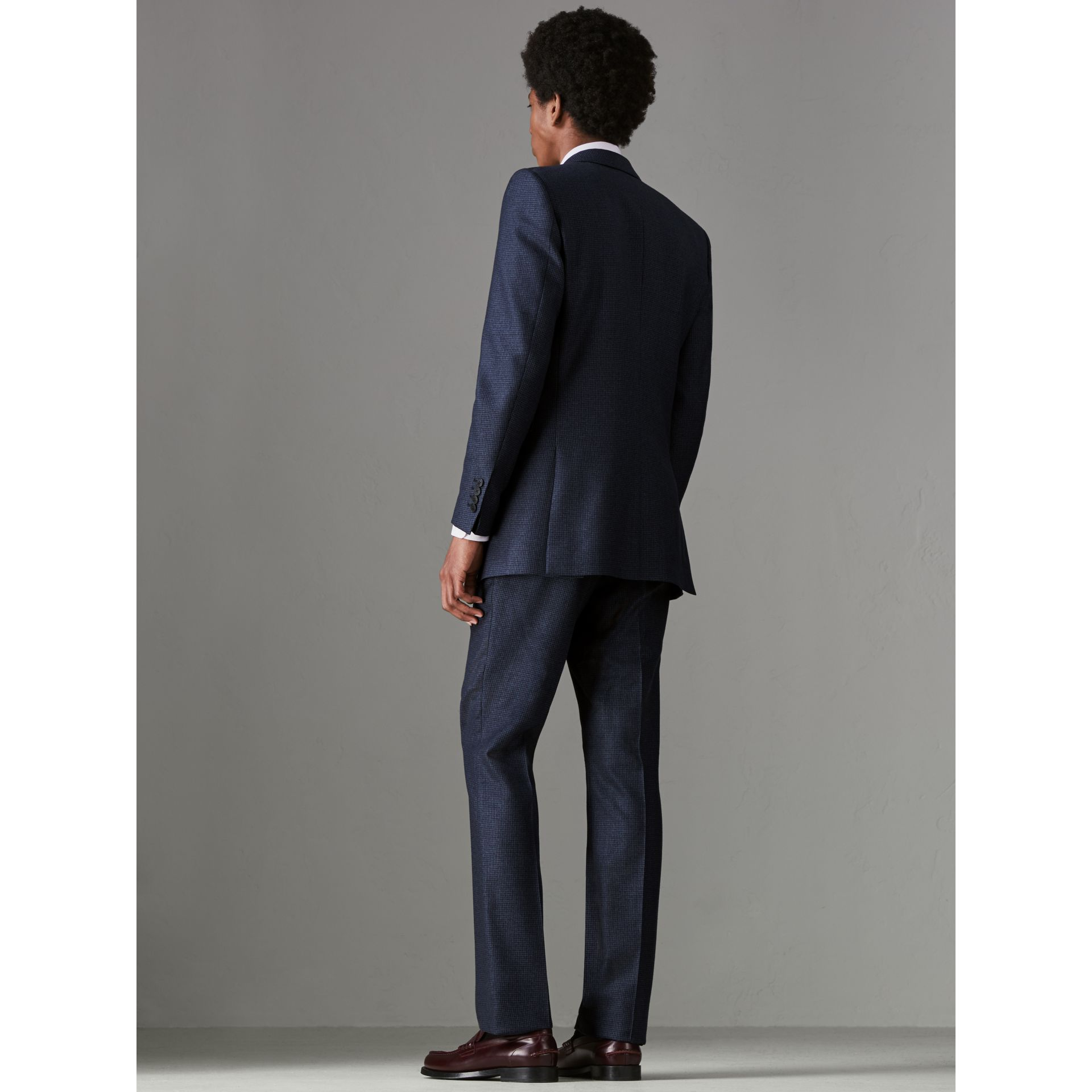 Slim Fit Puppytooth Wool Suit in Navy - Men | Burberry - gallery image 2