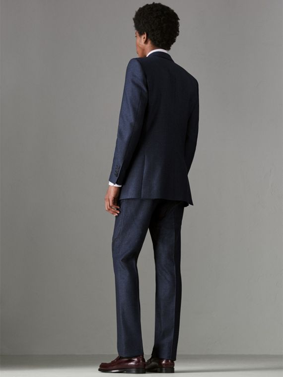 Slim Fit Puppytooth Wool Suit in Navy - Men | Burberry United States - cell image 2