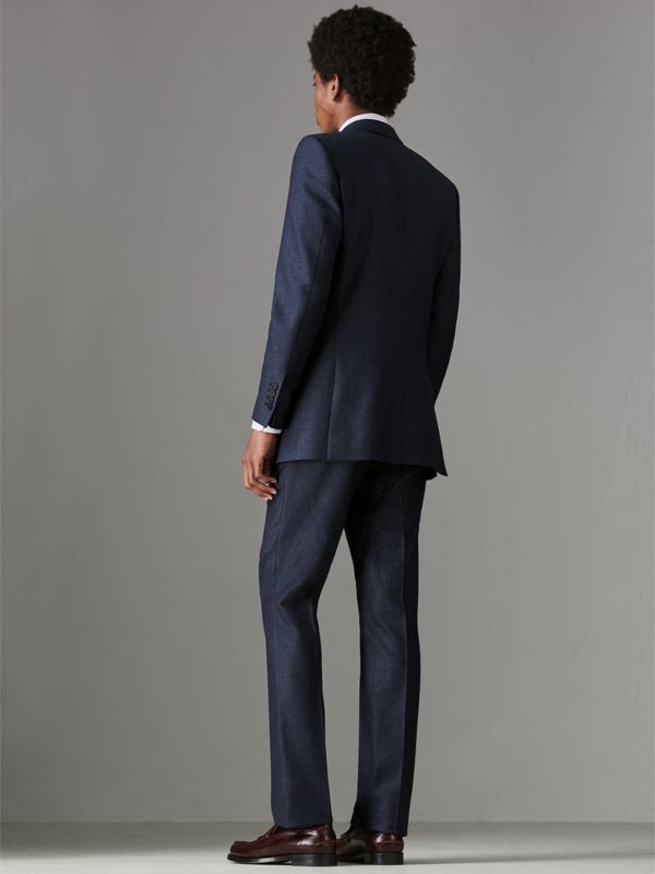 Slim Fit Puppytooth Wool Suit in Navy - Men | Burberry - cell image 2