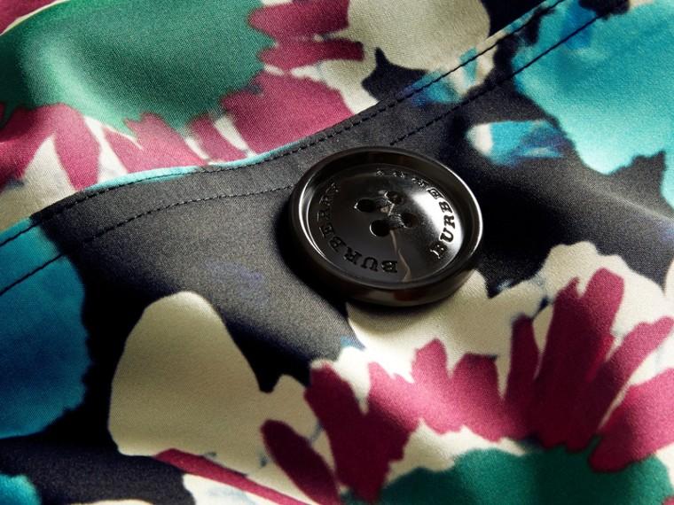 Navy Trench coat in seta con stampa tipo tintura a riserva - cell image 1